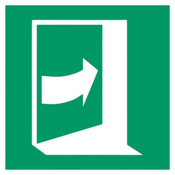 Fluchtwegeschild-6-E023-Tür öffnet durch Drücken auf der rechten Seite