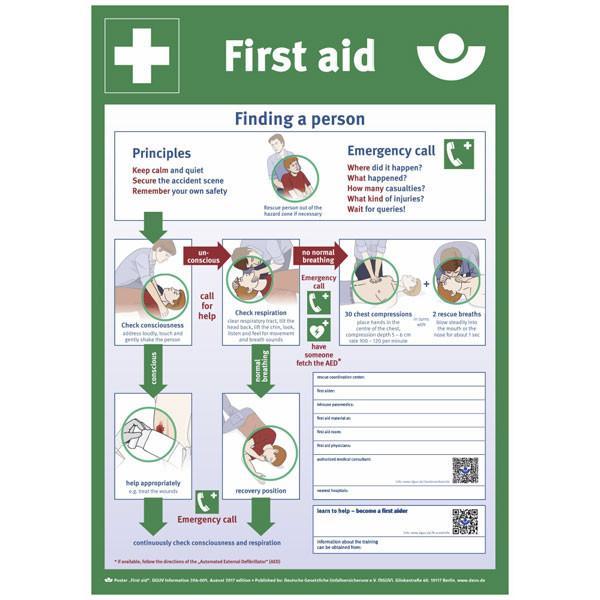 Aushang - Berufsgenossenschaft - First aid (Englisch)