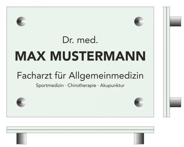 150 x 200 x (2 Stück) 4 mm Glasschild Set ESG-Echtglas mit 4 Wandhalter aus Edelstahl