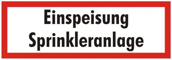 Brandschutzzeichen-9-Einspeisung Sprinkleranlage -Textschild DIN 4066 Brandschutzzeichen