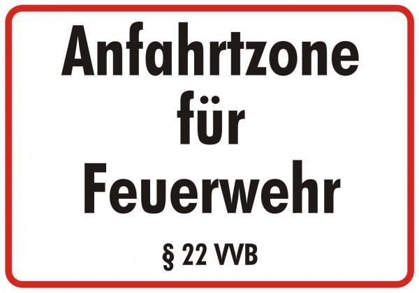Feuerwehrschild 50 x 35 cm Anfahrtzone für Feuerwehr §22VVB