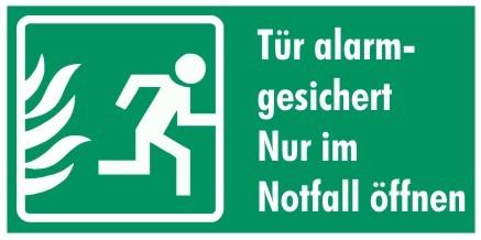 Fluchtwegeschild-7-Tür alarmgesichert! Nur im Notfall öffnen 14,8 x 7,4 cm Fluchtwegschilder