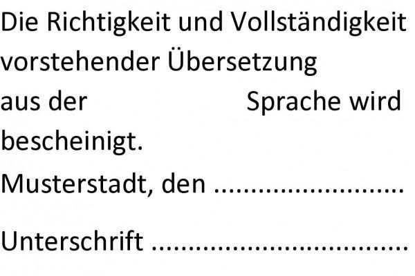 30x45 mm · Beglaubigungsstempel Übersetzung · Bescheinigungsstempel
