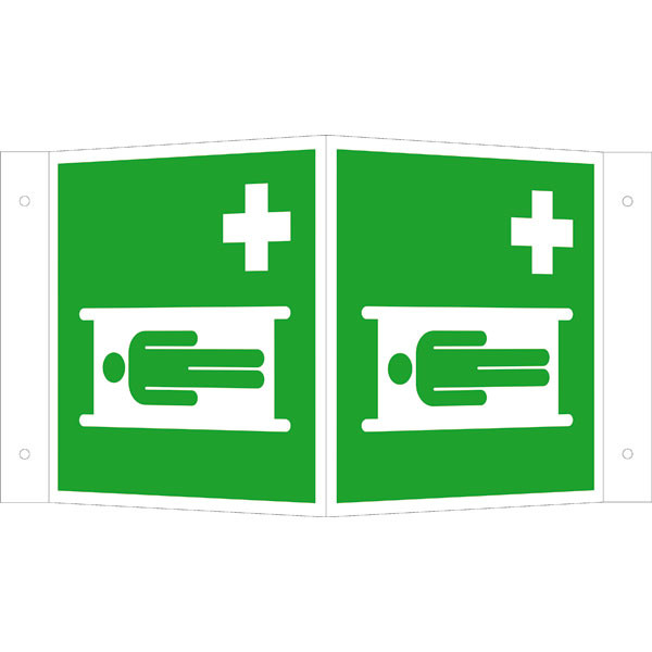 Fluchtwegeschild-6-E011- Winkelschild Krankentrage