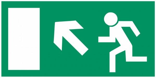 Fluchtwegeschild-6-E013 Rettungsweg links aufwärts-BGV A8 Fluchtwegschilder