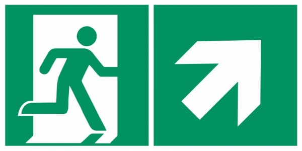 Fluchtwegeschild-6-E002 + Zusatzzeichen-Notausgang rechts mit Richtungspfeil rechts aufwärts-DIN EN