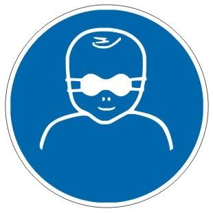 Gebotszeichen-3-M025-Kleinkinder durch weitgehend lichtundurchlässige Augenabschirmung schützen-DIN