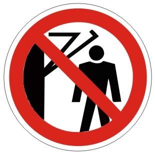 Verbotszeichen-2-P023-Hinter den Schwenkarm treten verboten-DIN 4844