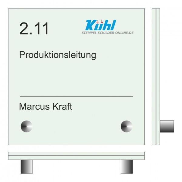 150 x 150 x (2 Stück) 4 mm Glasschild Set ESG-Echtglas mit 2 Wandhalter aus Edelstahl