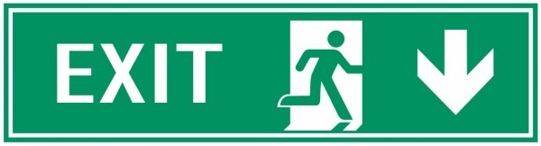 Fluchtwegeschild-7-EXIT rechts abwärts 39 x 11,5 cm Zusatzzeichen