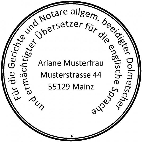 40 ø mm · Siegelstempel · Rundstempel Übersetzer
