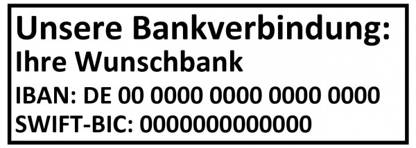 Bankverbindungsstempel · IBAN Stempel · BIC Stempel