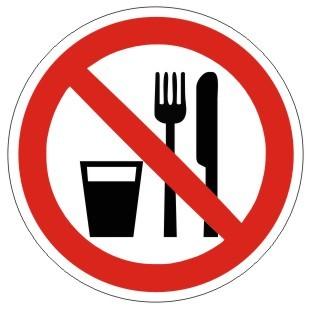 Verbotszeichen-1-P022-Essen und Trinken verboten 2-DIN EN ISO 7010