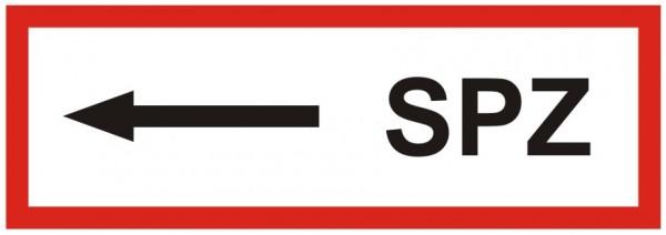 Brandschutzzeichen-9-SPZ Pfeil links -Textschild DIN 4066 Brandschutzzeichen