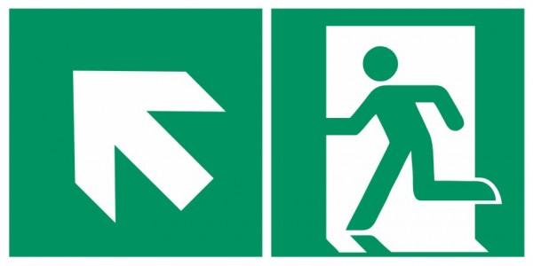Fluchtwegeschild-6-E001 + Zusatzzeichen-Notausgang links mit Richtungspfeil links aufwärts-DIN EN IS