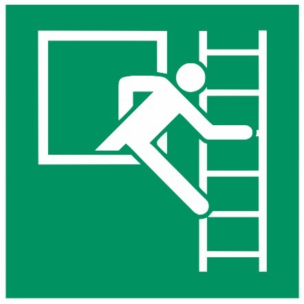 Fluchtwegeschild-6-E016-Notausstieg mit Fluchtleiter rechts-DIN EN ISO 7010 Fluchtwegzeichen