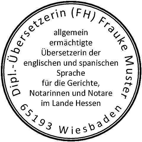 40 ø mm · Siegelstempel · Rundstempel Übersetzer für Gerichte Notare