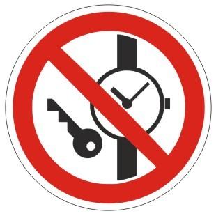 Verbotszeichen-1-P008-Mitführen von Metallteilen oder Uhren verboten-DIN EN ISO 7010