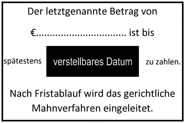 40x60 mm · Mahnstempel · Buchhaltungsstempel · Datumstempel