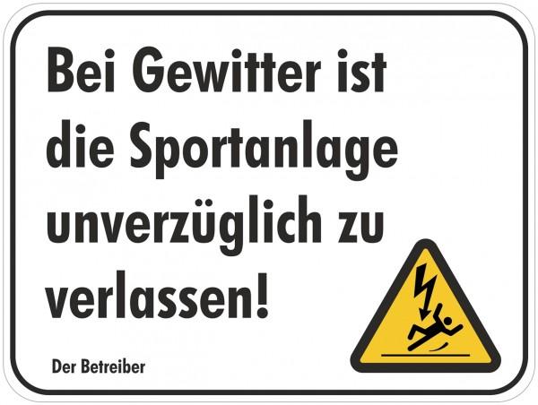 """A - Hinweisschild """"Gefahr bei Gewitter und Blitz"""" 420 x 315 mm Zusatzzeichen"""