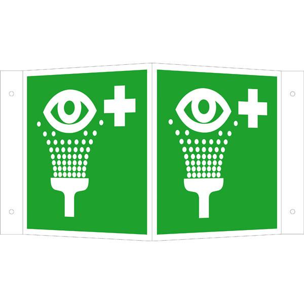 Fluchtwegeschild-6-E011- Winkelschild Augenspüleinrichtung