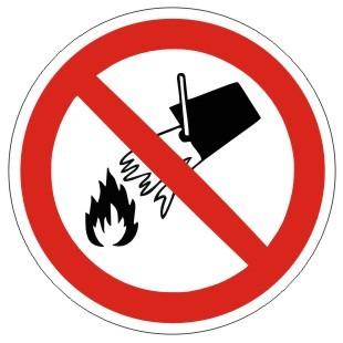 Verbotszeichen-1-P011-Mit Wasser löschen verboten-DIN EN ISO 7010