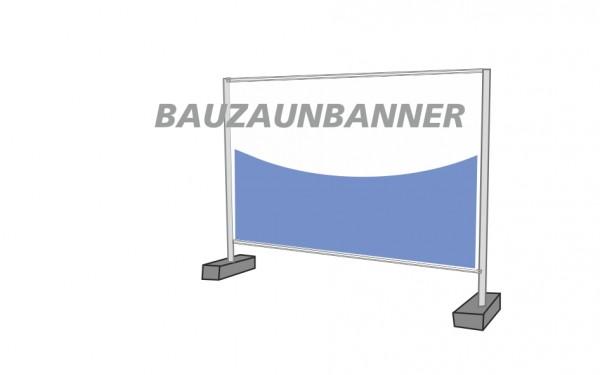 Bauzaunbanner 340 x 173 cm 4/0 farbig bedruckt und umlaufend geöst + gesäumt