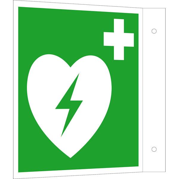 Fluchtwegeschild-6-E010- Fahnenschild Defibrillator
