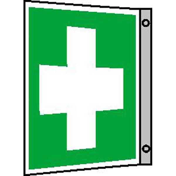 Fluchtwegeschild-6-E003- Fahnenschild Erste Hilfe
