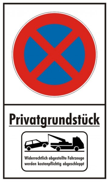 Privatgrundstück Parkverbot Absolut Hochformat mit Abschleppsymbol