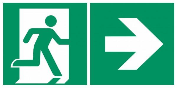 Fluchtwegeschild-6-E002 + Zusatzzeichen-Notausgang rechts mit Richtungspfeil rechts-DIN EN ISO 7010