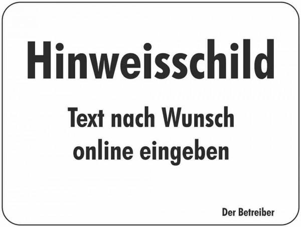 A - Kommunales Hinweisschild 415 x 320 mm oder Zusatzzeichen mit Wunschtext