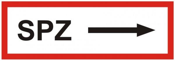 Brandschutzzeichen-9-SPZ Pfeil rechts -Textschild DIN 4066 Brandschutzzeichen