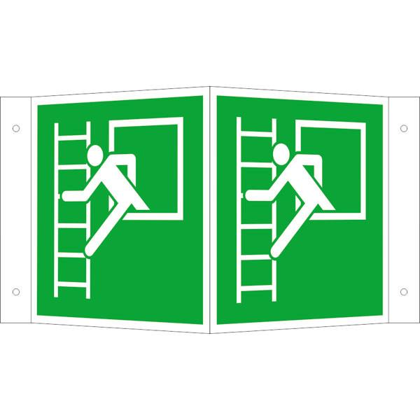 Fluchtwegeschild-6-E016-Winkelschild Notausstieg mit Fluchtleiterlinks-lang nachleuchtend-