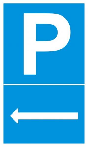 Parkplatzschild Pfeil links