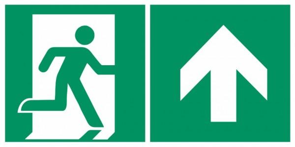 Fluchtwegeschild-6-E002 + Zusatzzeichen-Notausgang rechts mit Richtungspfeil aufwärts / geradeaus-DI