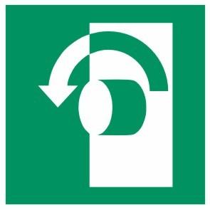 Fluchtwegeschild-6-E018-Öffnung durch Linksdrehung-DIN EN ISO 7010 Fluchtwegzeichen