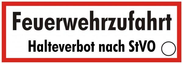 Brandschutzzeichen-9-Feuerwehrzufahrt Halteverbot nach StVO-Textschild DIN 4066 Brandschutzschild