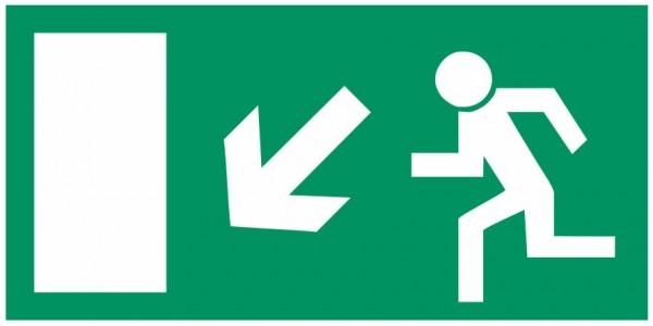 Fluchtwegeschild-6-E013 Rettungsweg links abwärts-BGV A8 Fluchtwegschilder