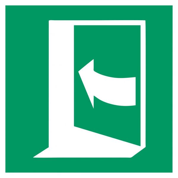 Fluchtwegeschild-6-E022-Tür öffnet durch Drücken auf der linken Seite