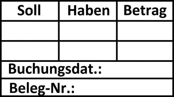 33x56 mm · Buchungsstempel Soll Haben · Tabellenstempel