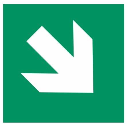 Fluchtwegeschild-6-E001-2-Richtungspfeil schräg-DIN EN ISO 7010 Fluchtwegzeichen