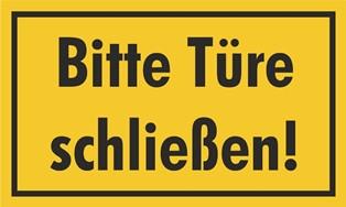 Bitte Türe schließen! Hinweisschild Gelb | Grün | Rot oder Weiß