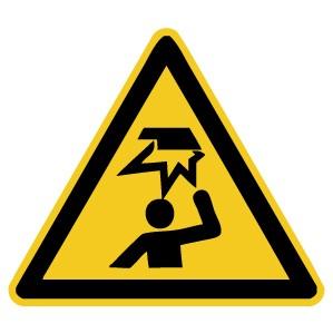 Warnzeichen-4-W020-Warnung vor Hindernissen im Kopfbereich-DIN EN ISO 7010