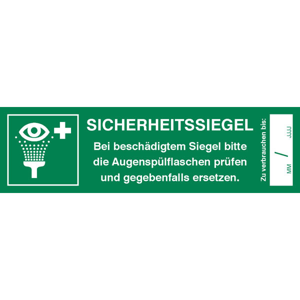 Sicherheitssiegel für Augenspülstation