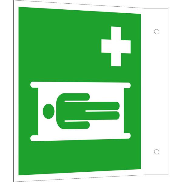 Fluchtwegeschild-6-E013- Fahnenschild Krankentrage