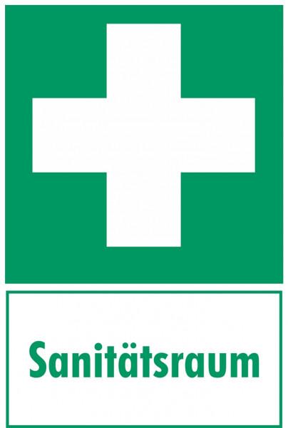 Fluchtwegeschild-6-E003- Erste Hilfe Kombischild mit Zusatztext Sanitätsraum