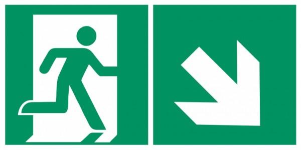 Fluchtwegeschild-6-E002 + Zusatzzeichen-Notausgang rechts mit Richtungspfeil rechts abwärts-DIN EN I