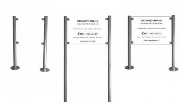 Edelstahl Aufsteller Standschild 1,50 m über Boden
