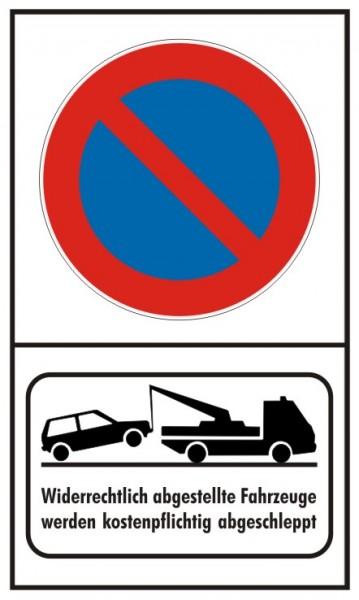 Parkverbot Eingeschränkt Hochformat mit Abschleppsymbol